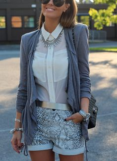 short, summer fashions, statement necklaces, button, white shirts, blous, street styles, summer outfits, leather pants