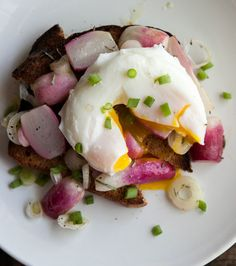 Buttered Radishes with a Poached Egg