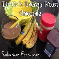 Dr. Oz's Energy Boost Smoothie by Suburban Epicurean almond milk, healthy smoothie recipes, energy boosting smoothies, energy food recipes, ice cubes, suburban epicurean, energi boost, energy boost smoothie, peanut butter