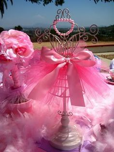 Cute Pink Ballerina Centerpiece :) jewerly holder - would make a nice party favor as well.