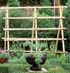 easy 3-step garden trellis from 2x2s and twine