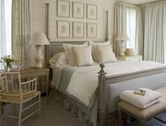 simple neutral colors. grey furniture. master bedroom.