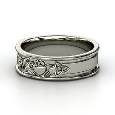Claddagh Knot Band, White Gold Ring from Gemvara