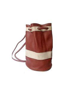 vtg red LEATHER DUFFLE BAG  rucksack large by lesclodettes on Etsy