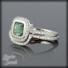 Platinum Cushion Cut Green Sapphire Engagement Ring with Diamond Halo Wedding Set