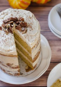 pumpkin layer cake with brown sugar and cinnamon cream cheese frosting pumpkin recipes, frostings, cinnamon cream, brown sugar, food, layer cakes, dessert heaven, thanksgiving desserts, cream cheese frosting