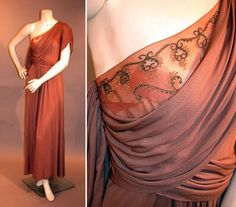 Adrian Classical One-Shoulder Gown   American, late 1940s