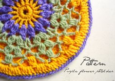 Pay Crochet Pattern: Purple Flower Potholder (overlay) by Pradeepa (Hobbyhopper)