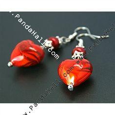 Handmade Earrings with Handmade Gold Sand Lampwork Beads, Glass Pearl Beads^ ^