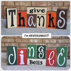 reversible holiday block signs.
