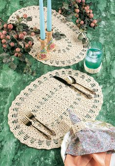 Placemats and Napkin Rings free crochet pattern on Thumpy's Quiet Place at http://thumpysquietplace.yuku.com/topic/62#.Uiao3dJLkql