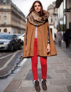 red pants + camel cape