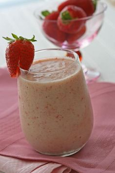 Strawberry Smoothie made with Chobani Greek Yogurt