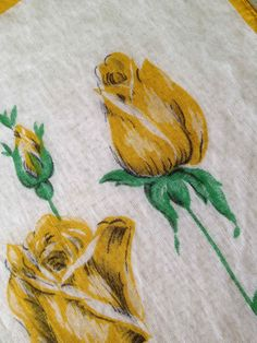 Vintage Handkerchief with Golden Yellow by PenguinAndFlamingo, $7.00