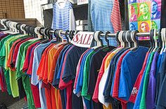 ideas for displaying clothes (hanging) at a garage sale