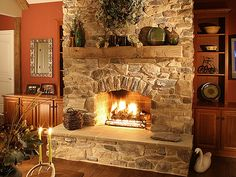 Nice simple rustic fireplace.  :)                     Eldorado Stone by EldoradoStone, via Flickr