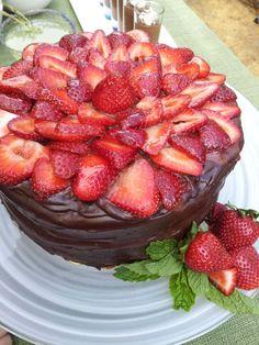 Chocolate Ganache cake with Strawberries