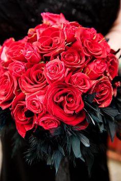 red rose bouquet // photo by Photo Pink // http://ruffledblog.com/dracula-inspired-halloween-wedding