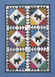 Scottie Dogs, in: Polka-Dot Kids' Quilts by Jean Van Bockel.  Made with stripes, plaids and polka dots scottie dogs, scotti quilt, quilt ebook, polkadot kid, kid quilts, appliqu, quilt idea, dog quilt