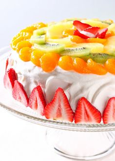 fruit decorated cake - healthy!