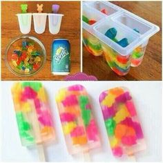 Frozen sprite gummi bear Popsicles . You can use other things instead of sprite if you so wish. Great for a summer snack.