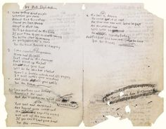 Bob Dylan's handwritten lyrics to The Times They are a-Changin', 1963
