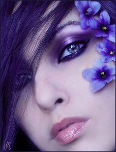 Purple makeup purple flowers purple hair