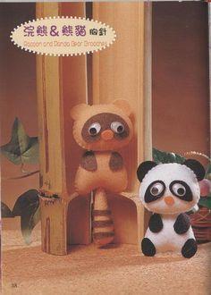 Blog de Goanna: Molde Mapache y Oso Panda en Fieltro