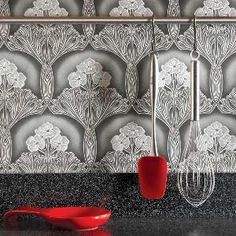 Ideas for the Kitchen: Vinyl Wallpaper Backsplash