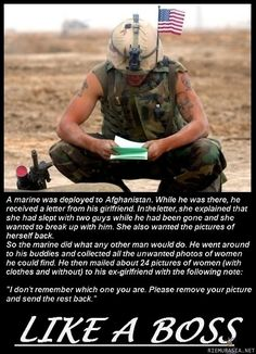How to handle a cheating girlfriend, Marine style.