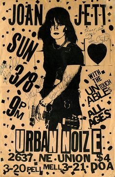 Vintage, Signed Joan Jett Punk Club Poster - 1981