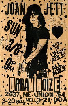 Vintage, Signed Joan Jett Punk Club Poster - 1981