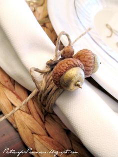 white houses, napkin rings, autumn, napkin holders, fall table settings, wedding napkins, fall weddings, thanksgiving table, acorn napkin
