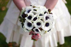 Anemones blancas y negras con ramas de moras azules.