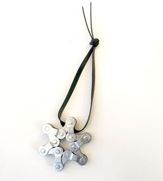 SNOWFLAKE Ornament - Upcycled Bike Chain - Silver - Free Shipping