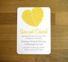 Bright Modern Wedding Invitation - 'Woven Heart' Design - One Sample. $3.75, via Etsy. #yellow #weddinginvitations #invitations