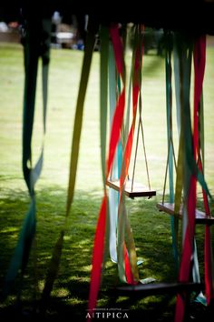 Swings at a circus themed wedding created by A-Tipica