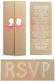 White on kraft wedding invites