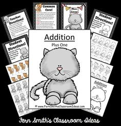 Addition Plus One - Kitten Themed - Quick and Easy Centers & Printables #TPT $Paid