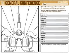 cute handouts and stuff for kids to do during general conference