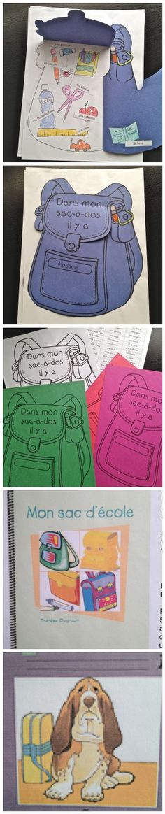 Dans mon sac-à-dos vocabulary review (meant for September grade 1 FI, maybe grade 4 core French).