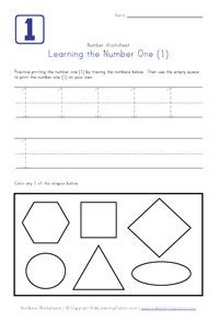 Simple worksheets to trace number and color the number of shapes.