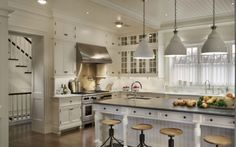 Kitchen island with turned legs and soapstone countertops