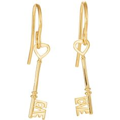 Love is the Key® 14K Yellow Gold Dangle Earrings