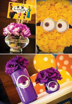 So many cute & easy Minion party ideas. Like this — adding goggles to flowers