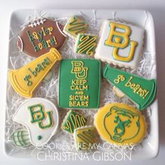 Baylor Bears; Baylor cookies; football cookies; sic em bears; Cookies Are My Canvas