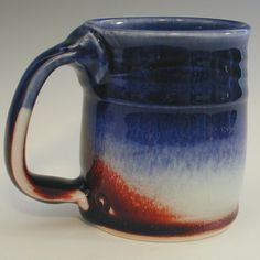 Cobalt and Oxblood Red  Mug in Porcelain by gr8clay on Etsy, $28.00