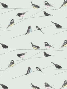 Garden birds wallpaper by Louise Body