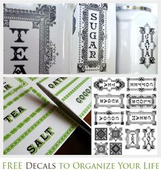 Gorgeous free printables to organize the kitchen! kitchens, kitchen canisters, printable labels, organ, kitchen decal, menu planners, decals, free printabl, printabl label