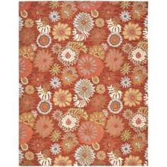 Handmade Blossom Red Wool Rug (5' x 8') - girl's room...